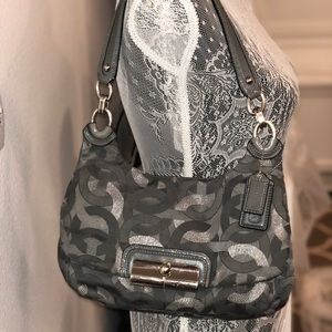 Coach Kristin Signature Gray and Silver Handbag